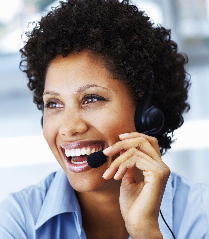 woman speaking into a headset