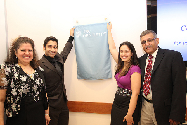 Drs. Chherawala and family unveil plaque coquitlam dentist